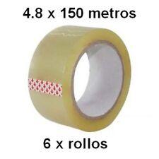 6 Rollos de PRECINTO 4,8cm x 150 metros cinta embalar transparente adhesivo