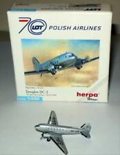 HERPA  LOT POLISH AIRLINES DOUGLAS DC-3  #511421 1/500  DIECAST PLANE