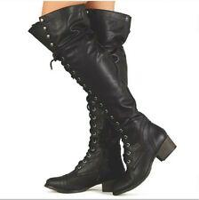 Breckelles Otk black thigh high lace up combat boots Boots 9 vegan