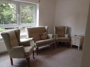 Stylish Sofa & Armchairs, High Back, Light Green w/ Teak Queen Anne Legs - PE19