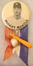 1950's PM10 Mickey Mantle Pinback Pin with Ribbon and Charms New York Yankees