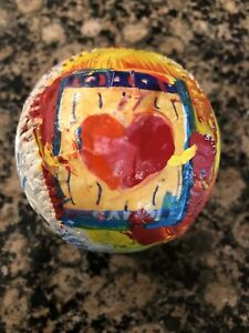 Peter Max Original HEART Painted and Signed BASEBALL. Peter Max Hologram