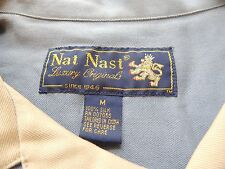 Nat Nast 100% Silk blue and white Button Front bowling shirt size M