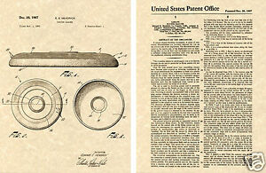 FRISBEE WHAM-O FLYING DISC US PATENT Art Print READY TO FRAME!!! Disc Golf 1967