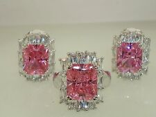VINTAGE 1980'S SPARKLING CLEAR & PINK ICE RING & MATCHING EARRINGS! MINTY!