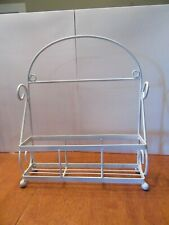 Vintage White Metal Wire Wall hanging - Counter Shelf Basket - Spice Rack 13-1/2