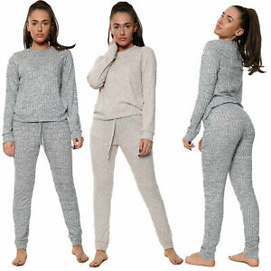 Womens Ladies Ribbed Lounge Wear tracksuit Two Piece Set