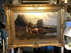 Signed 19th Century Oil on Canvas Milk Maid & Cows with Original Gilt Frame