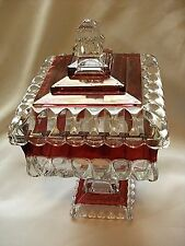 Vintage Indiana Clear Ruby Flash Lidded Glass Square Pedestal Compote Candy Dish