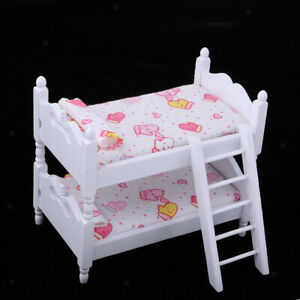1/12 Bunk Bed Dollhouse Miniature Bed Mini Bunk Beds for Dolls