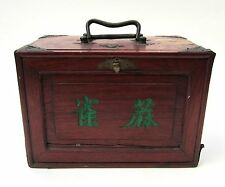 Antique Chinese Mahjong set bamboo & bone in wooden box 148 tiles