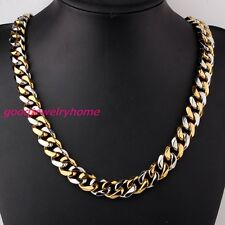 """15mm 24"""" Gold Silver Chain Stanless Steel Strong Cool Men's Cuban Necklace"""