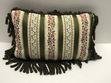 Rectangular Fringed Pillow Stripes Flowers Floral Brown Green Cream Home Decor