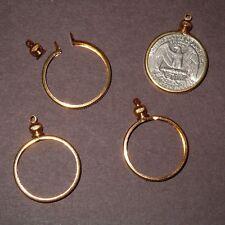 25 cent /USA Quarter Coin Holder Bezel Gold Tone ~ charm, necklace pendant, pk/4