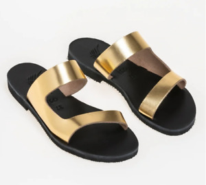 Greek Handmade Sandals Ancient Style Women Genuine Leather Slide Shoes Flat Size
