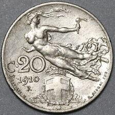1910 Italy 20 Centesimi AU Flying Woman Coin (20091502R)