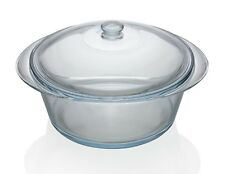 Pyrex 3.5L Glass Round Casserole with Lid Clear Glass Oven Proof Freezer Proof