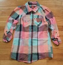 Arizona Girls Pink Aqua Coral Plaid Long Sleeve Button Up Top Blouse Size XL