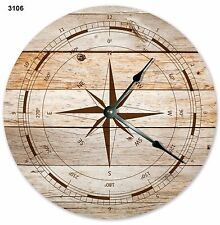 """10.5"""" RUSTIC WINDROSE COMPASS CLOCK - Large 10.5"""" Wall Clock - Home Décor - 3106"""