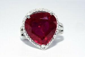 $500 14.00CT NATURAL RUBY & WHITE TOPAZ COCKTAIL SILVER RING SIZE 7.5