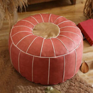 PU Leather Moroccan Pouf Cover Round Footstool Hassock Storage Ottoman Cover NEW