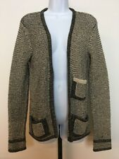 Costa Blanca Cardigan Sweater S Metallic Gold Black Open Front