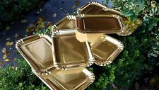 GOLD Foil PAPER PLATES METALLIC Shiny LARGE Rectangle  8pk  Dinner Lunch  Party