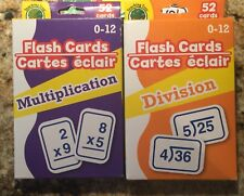 Set of 2 Learning Flash Cards Multiplication Division Numbers Math Educational