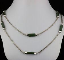 feine Kordelkette von EWO  Jade + Silber 835  -  1 m  2,5 mm Collier Modernist