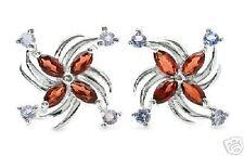 Pure Sterling Silver Genuine Garnet & Genuine Tanzanite Earrings    TE4