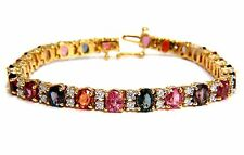 █$9500 18.24CT NATURAL VIVID COLORS SPINEL DIAMONDS TENNIS BRACELET 14KT