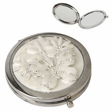 Compact Mirror 3d Effect Butterfly & Flowers Crystal Studded 2 Mirrors Mpn15302
