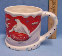 2004 Coca Cola Polar Bear Large Coffee Mug Red & White with Blue Snowflakes 3D