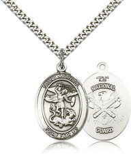 "CATHOLIC SAINT MICHAEL -  NATIONAL GUARD - ""PEWTER""   Medal 24"" Heavy Chain"