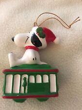 Peanuts Gang Snoopy Laying top Green Cable Car Japan 1958,1966 Ceramic Ornament