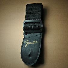 "FENDER BLACK NYLON (54"" x 2"") GUITAR STRAP WITH GOLD LOGO - ONE TOTAL STRAP!"