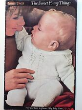 Vintage Patons baby wool knitting pattern book 3ply baby yarn