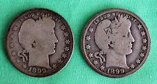 2 Coin Lot 1899 1899 O Silver Barber Quarters US Coins 25c Avg Circ G