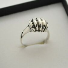 Vintage Silver Domed Ribbed Band Ring ~ Size P ~