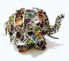 Natural Gemstones 925 Sterling Silver Antique Gemstone Elephant Christmas Gift