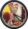 Retro Vintage Tattoo Parlor Tattooed Circus Woman Maude Arizona Sign Wall Clock