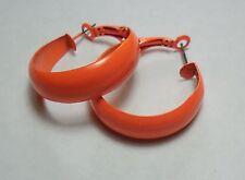 Bijou fantaisie : boucles d'oreille créoles orange fluo - diamètre 3 cm x 0,8 cm
