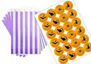 24 Happy Halloween Purple Striped Bags & 24 Stickers for Trick Or Treat Party