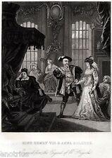 William Hogarth: KING HENRY VIII & ANNA BOLEYNE. ACCIAIO. Stampa Antica. 1850