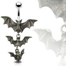 Gothic Tri-Vampire Bats Belly Dangle Ring