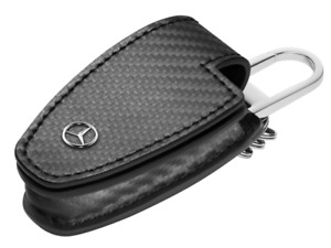 Genuine Mercedes Benz Keyring Car Key FOB Case Cover Gen 5 Leather - Carbon