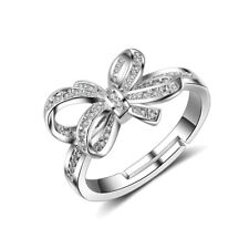 925 Sterling Silver Crystal Bow Ring For Women Fashion Birthday Jewellery Size 7