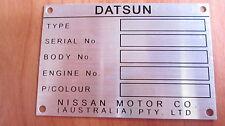 Datsun 1200 1600 180B 200B 120Y Australian Assembled chassis plate ID tag blank