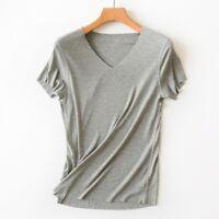 Hot Fashion Women's Summer Casual Bamboo Fiber Seamless Thin V-Neck T-Shirts Top