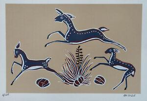 """Ha-So-De serigraph, """"Leaping Deer"""""""